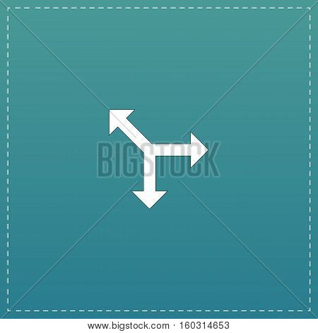 Three-way direction arrow. White flat icon with black stroke on blue background