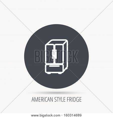 American fridge icon. Refrigerator sign. Round web button with flat icon. Vector