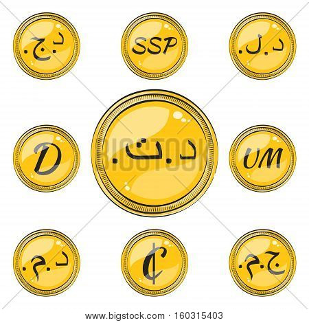 Set of Coins with Symbols of 9 Northern and Western Africa  Currencies. Flat Style Icons with Hotspots. Vector EPS 10
