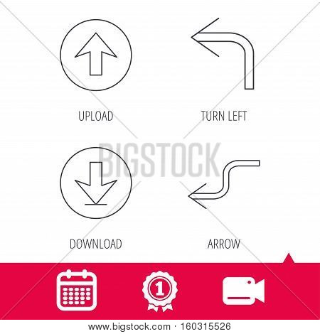 Achievement and video cam signs. Arrows icons. Download, upload and shuffle linear signs. Turn left, back arrow flat line icons. Calendar icon. Vector
