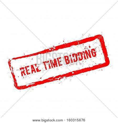 Real Time Bidding Red Rubber Stamp Isolated On White Background. Grunge Rectangular Seal With Text,