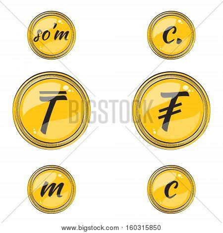 Set of Flat Coins with Symbols of 9 Asian Currencies. Flat Icon Coins with Hotspots. Vector EPS 10