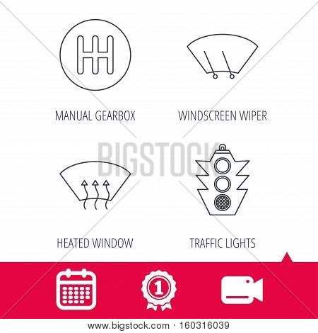 Achievement and video cam signs. Traffic lights, manual gearbox and wiper icons. Heated window, manual transmission linear signs. Washing window icon. Calendar icon. Vector