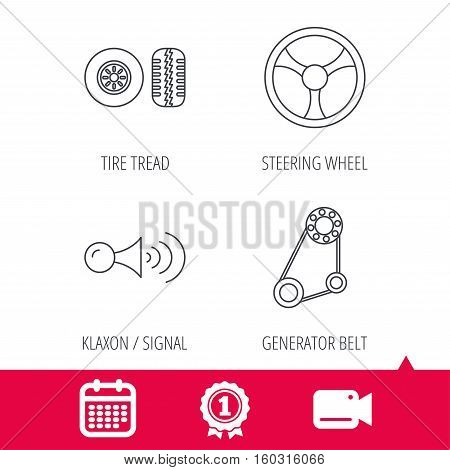 Achievement and video cam signs. Klaxon signal, tire tread and steering wheel icons. Generator belt linear sign. Calendar icon. Vector