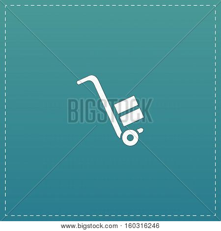 Manual loader. White flat icon with black stroke on blue background