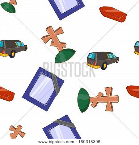 Funeral pattern. Cartoon illustration of funeral vector pattern for web