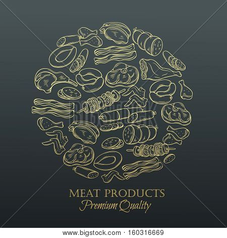 Set hand drawn monochrome icon meat. Decorative meat icons in old style for the design food meat production , brochures, banner, restaurant menu and market. Golden design template, page decoration.