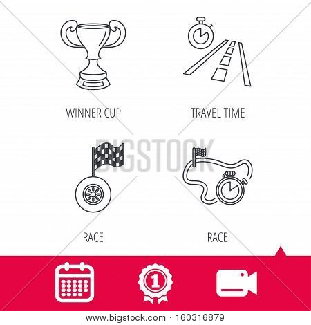 Achievement and video cam signs. Winner cup, race timer and flag icons. Travel time linear sign. Calendar icon. Vector