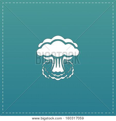 Mushroom cloud, nuclear explosion, silhouette. White flat icon with black stroke on blue background