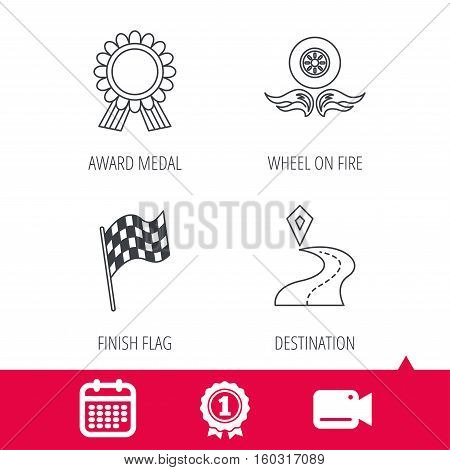 Achievement and video cam signs. Winner award medal, destination and flag icons. Race flag, wheel on fire linear signs. Calendar icon. Vector