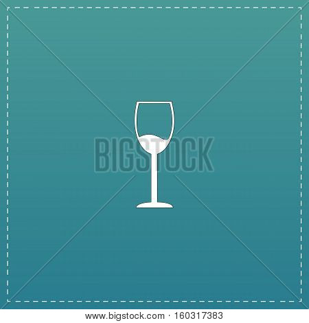 Simple Wine glass - Alcohol drink. White flat icon with black stroke on blue background