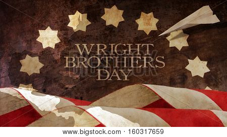 Happy Wright Brothers Day. Usa Flag Waves and Chart. Paper Airplane