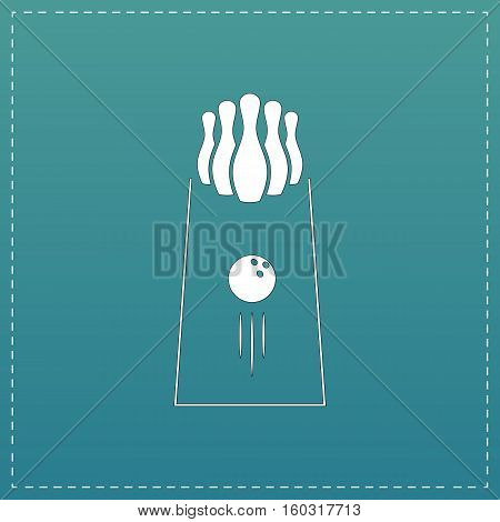 The bowling Game. White flat icon with black stroke on blue background