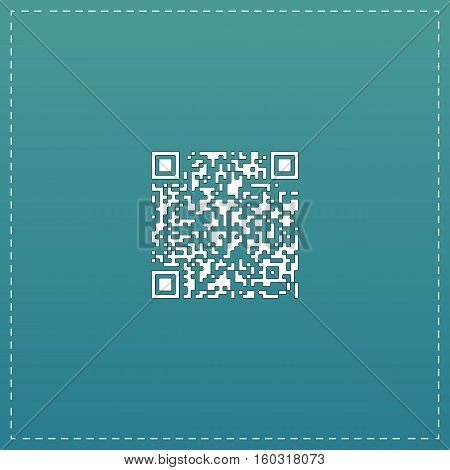 Qr code. White flat icon with black stroke on blue background