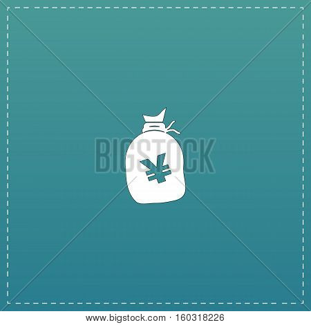Money bag with Yen JPY. White flat icon with black stroke on blue background