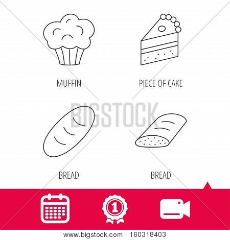 Achievement and video cam signs. Sweet muffin, cake and bread icons. Piece of cake linear sign. Calendar icon. Vector