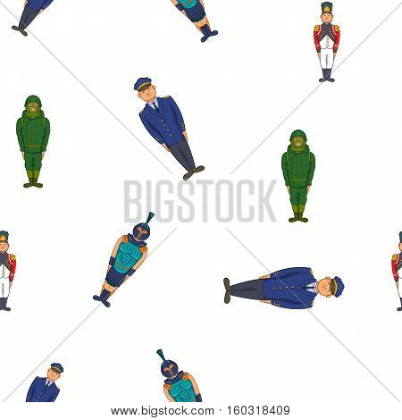Types of soldiers pattern. Cartoon illustration of types of soldiers vector pattern for web