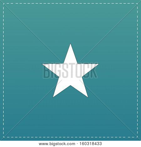 Clasic star. White flat icon with black stroke on blue background