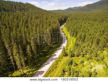 Aerial: Beautiful Mountain Valley Forest Road Landscape At Summer
