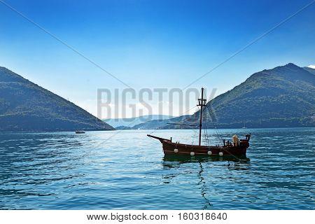 Single boat  near Perast, Kotor Bay, Montenegro