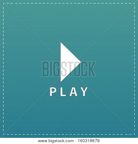 Play button. White flat icon with black stroke on blue background