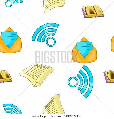 Latest news pattern. Cartoon illustration of latest news vector pattern for web
