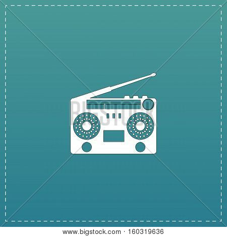 Classic 80s boombox. White flat icon with black stroke on blue background