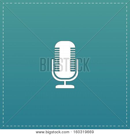 Microphone. White flat icon with black stroke on blue background