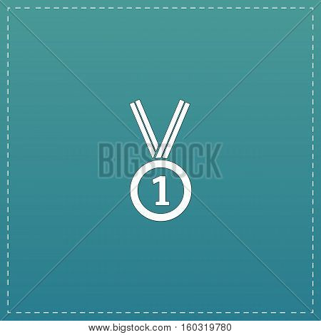 Award medal with ribbon. White flat icon with black stroke on blue background