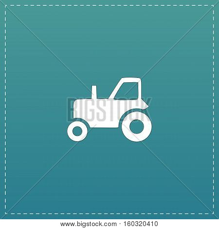 Tractor. White flat icon with black stroke on blue background