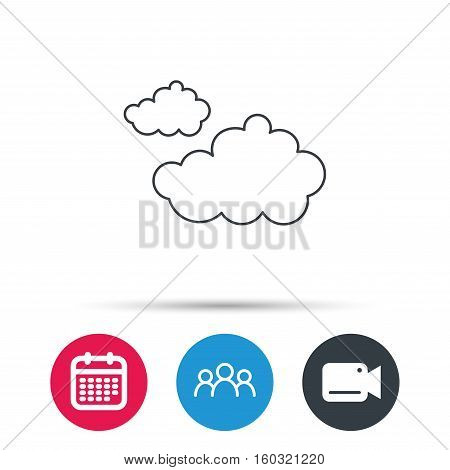 Cloudy icon. Overcast weather sign. Meteorology symbol. Group of people, video cam and calendar icons. Vector