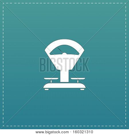 Weight Scale. White flat icon with black stroke on blue background