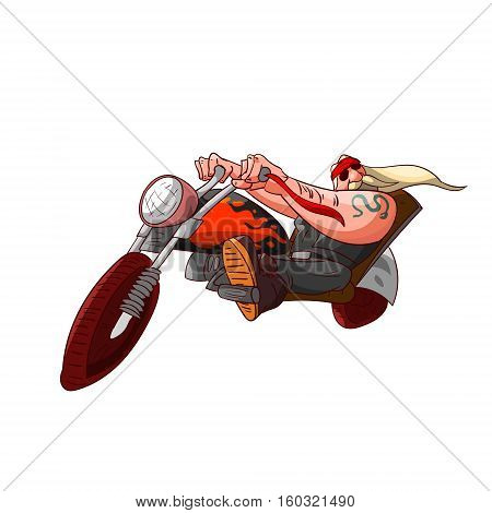 Colorufl vector illustration of a cartoon rocker biker or gang member