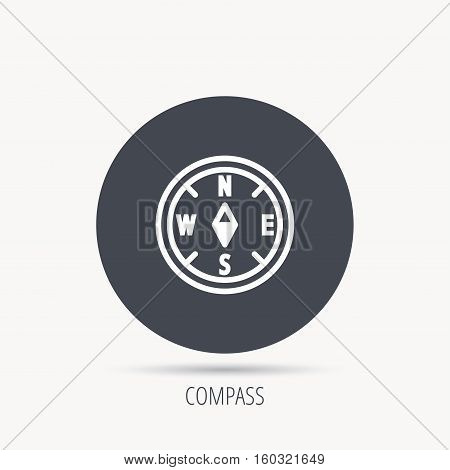 Compass navigation icon. Geographical orientation sign Round web button with flat icon. Vector