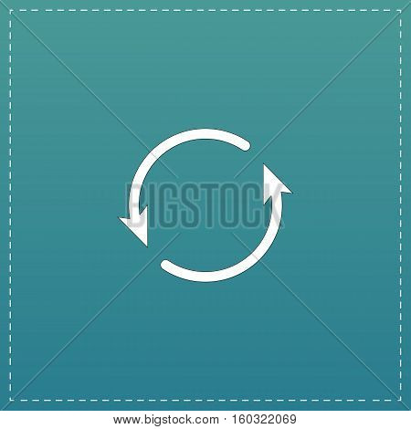 Arrow circle - cycle, loop, roundabout . White flat icon with black stroke on blue background