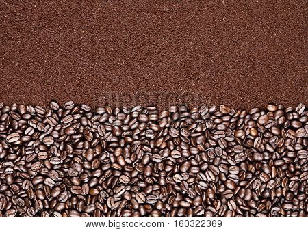 Coffee beans and powder fresh background texture