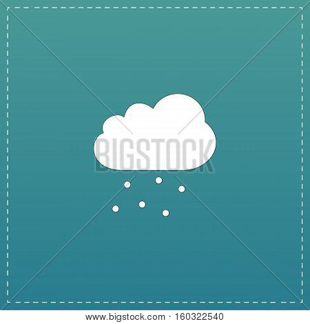 Cloud with hail. White flat icon with black stroke on blue background