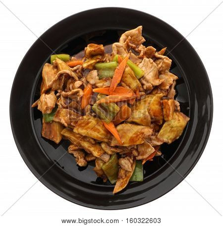 Chinese Food. Pork With Aubergines And Vegetables