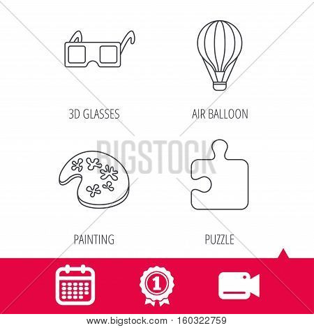 Achievement and video cam signs. Puzzle, painting and air balloon icons. 3d glasses linear sign. Calendar icon. Vector