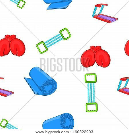 Classes in fitness room pattern. Cartoon illustration of classes in fitness room vector pattern for web