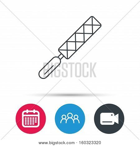 File tool icon. Carpenter equipment sign. Group of people, video cam and calendar icons. Vector