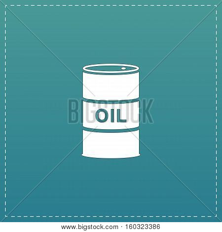 Barrels of oil. White flat icon with black stroke on blue background