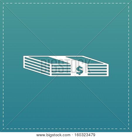Bundle of Dollars. White flat icon with black stroke on blue background
