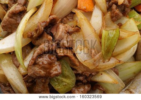 Chinese Food. Veal With Onions And Vegetables