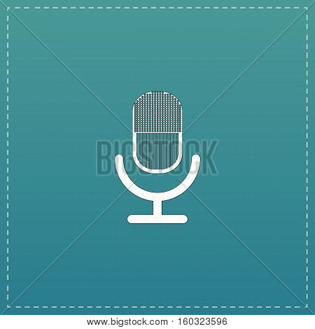 Retro microphone. White flat icon with black stroke on blue background