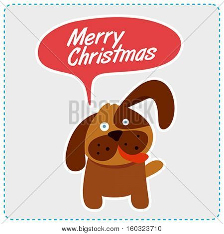 Cute dog christmas message. Vector illustration