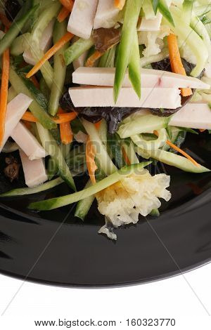 Cucumber Salad With Ham, Black And Whie Mushrooms