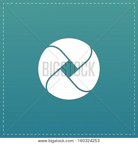Loop circle. White flat icon with black stroke on blue background