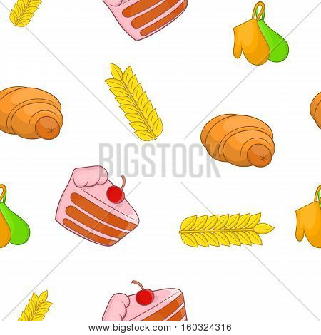 Sweet pastries pattern. Cartoon illustration of sweet pastries vector pattern for web