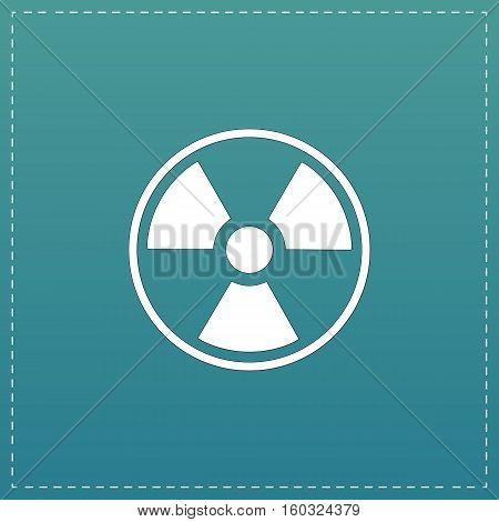 Radiation White flat icon with black stroke on blue background